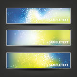 Set of Horizontal Banner or Header Background Designs - Colors: Blue, Yellow, White - For Party, Christmas, New Year Holiday Stock Photos