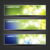 - Set of Horizontal Banner or Header Background Designs - Colors: Green, Blue, White - For Party, Christmas, New Year Holidays Stock Photography