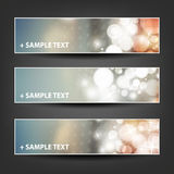 Set of Horizontal Banner or Header Background Designs - Colors: Grey, Orange, Silver, White - For Party, Christmas, New Year Stock Photography