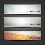 Set of Horizontal Banner or Header Background Designs - Colors: Grey, Orange, Silver, White - For Party, Christmas, New Year Royalty Free Stock Photo
