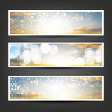 Set of Horizontal Banner or Header Background Designs - Colors: Grey, Orange, Silver, White - For Party, Christmas, New Year Stock Photo