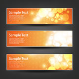 Set of Horizontal Banner or Header Background Designs - Colors: Orange, White - For Party, Christmas, New Year or Other Holidays Stock Images