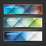 Set of Horizontal Banner or Header Designs with Colorful Checked Pattern Background Stock Image