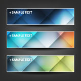 Set of Horizontal Banner or Header Designs with Colorful Checked Pattern Background Royalty Free Stock Photography