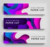 Set horizontal banner paper cut. Paper Art Background. Design template for presentation, invitation, web site, postcard. Poster. Vector illustration Stock Photography
