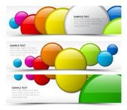 Set of horizontal banners with 3d circles. Set of horizontal white banners with 3d circles Stock Image
