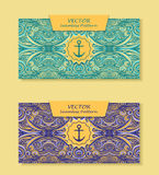 Set Horizontal  banners with abstract waves in blue marine and beige Royalty Free Stock Photo
