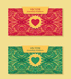 Set Horizontal banners with abstract waves in red green Stock Photography