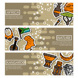 Set of Horizontal Banners about Africa Royalty Free Stock Photos