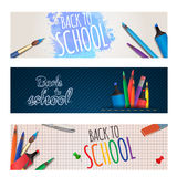 Set of horizontal banners back to school with stationery. Stock Images