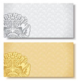 Set of horizontal banners. Balinese traditional ornament.  Royalty Free Stock Photo