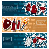 Set of Horizontal Banners about Barbecue Royalty Free Stock Images