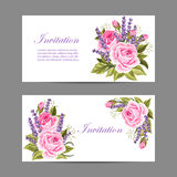Set of horizontal banners. Beautiful compositions with pink roses and violet lavenders isolated on white vector illustration
