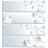Set of horizontal banners with blossoming sakura Royalty Free Stock Photos