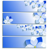 Set of horizontal banners blue with blossoming sakura Royalty Free Stock Photo