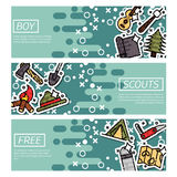 Set of Horizontal Banners about boy scouts. Vector design concept Stock Images