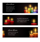 Set of horizontal banners with candles Royalty Free Stock Images