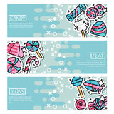Set of Horizontal Banners about candy Royalty Free Stock Image