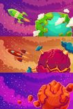 Set of horizontal banners with cartoon fantasy of alien planets royalty free illustration
