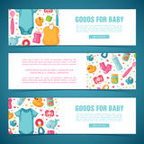 Set horizontal banners with childhood`s patterns. Newborn staff for decorating flyers. Design templates for card Stock Photo