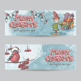 Set of horizontal banners for Christmas and the new year with a. Picture of an elf and Bullfinch on a branch Royalty Free Stock Photos