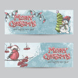 Set of horizontal banners for Christmas and the new year with a. Picture of a snowman and bullfinch on the branch Royalty Free Stock Images