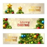 Set of Horizontal Banners with Christmas tree. Colorful baubles and gold star on the top. Vector illustration. Glowing festive background with light beams and Stock Photo