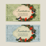 Set of horizontal banners. Christmas wreath with bullfinches, pine branches and rowan berries. Vintage postcard background Stock Image