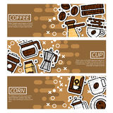 Set of Horizontal Banners about coffee Royalty Free Stock Photo