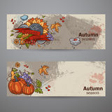 Set horizontal banners of colored autumn doodle Royalty Free Stock Photos