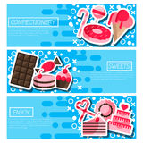 Set of Horizontal Banners about confectionery Stock Photo