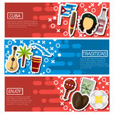 Set of Horizontal Banners about Cuba Royalty Free Stock Image