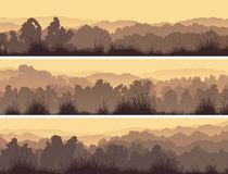 Horizontal banners of deciduous forest. Set of horizontal banners of deciduous forest with grass stock illustration
