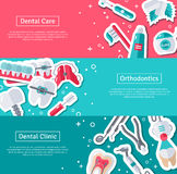 Set of Horizontal Banners about Dentistry Stock Photography