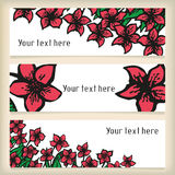 Set of horizontal banners with doodling flowers Royalty Free Stock Photo
