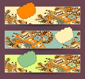 Set horizontal banners down load with doodle monsters. Set horizontal banners. Template of Concept down load with arrow doodle monsters in yellow orange marine stock illustration