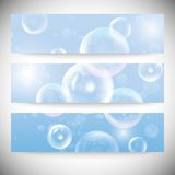 Set of horizontal banners. Drops in the blue water Royalty Free Stock Image