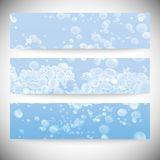 Set of horizontal banners. Drops in the blue water Stock Photo