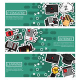 Set of Horizontal Banners about e-education Royalty Free Stock Photo