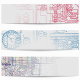 Set of horizontal banners with electric circuit diagrams on electricity. Royalty Free Stock Images