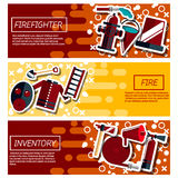 Set of Horizontal Banners about firefighter. Firefighters 3 flat horizontal banners webpage for information on fire alarm in building abstract isolated vector Royalty Free Stock Photography