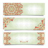 Set of horizontal banners with floral delicate ornament Stock Photography