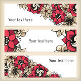 Set of horizontal banners with floral doodling Royalty Free Stock Photography