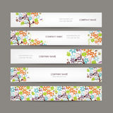 Set of horizontal banners with floral tree Stock Photos