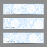 Set of horizontal banners with flowers Stock Image