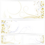 Set of horizontal banners with flowers Stock Photos