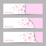 Set of horizontal banners with flowers stock illustration