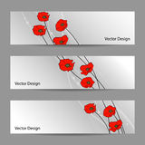 Set of horizontal banners with flowers Stock Photography