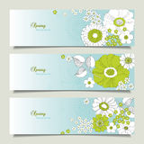 Set of horizontal banners with flowers Royalty Free Stock Photography