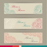Set of horizontal banners with flowers Royalty Free Stock Image